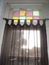 Bali Natural Cotton Coloured Tab Curtains (Pair) Brown