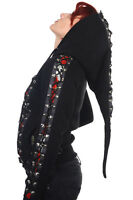 Banned Gothic Skull Roses Corset Hoodie Rockabilly Pixie Hooded Top Jacket Black