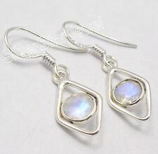 "925 Solid Silver Wonderful BLUE FIRE RAINBOW MOONSTONE DESIGNER Earrings 1.3"""
