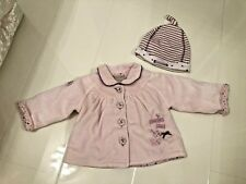 MAMAS & PAPAS BABY PINK VELOUR 'MIXED WITH LOVE' SWING STYLE JACKET & HAT - 0-3