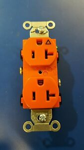 BOX OF 10-HUBBELL IG20CR DUPLEX RECEPTACLE ORANGE 20A 125V 5-20R ISOLATED GROUND