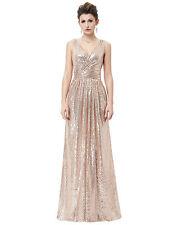 UK Women Formal Sequined Dress Bridesmaids Wedding Dresses Evening Prom Sz 4 -18