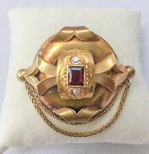 Antique Victorian English Handmade Pin - 14kt gold with ruby and diamond center