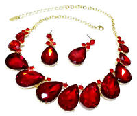 Necklace Earring Rhinestone Crystal Pageant Drag Queen Bridal Prom Red Statement