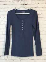 Time And True Womens Henley Shirt Size Small (4-6) Blue Long Sleeve Ribbed Knit