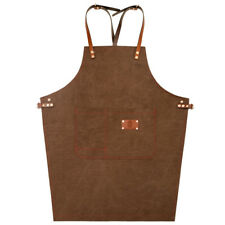 Canvas Bib Apron with Leather Strap for Wood Craftsman Artisan Work Uniforms