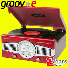 Groov-e RED Retro Vinyl Record Player Turntable FM Radio & Built-in Speakers