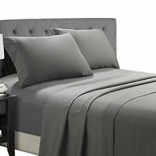 Premium 100% Cotton 300TC Solid Grey Twin Size Bedsheet with 2 Pillow Covers