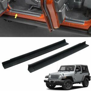 2pcs ABS Black Door Entry Sill Guard For Jeep Wrangler JK 2007-2018 2 Door