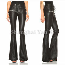 Womens Punk Slim Fit Flared Zipper Leather Lace Up Pants High Waist Trousers