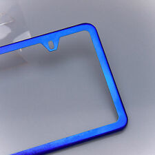 Slim License Plate Cover Frame Holder 2 Hole Stainless Steel Chrome Candy Blue