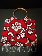 Hawaiian Purse Bag Bamboo Handles Beaded Sequined Hibiscus Tropical Print 12 x12