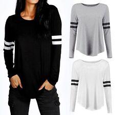 Mode Femmes Chemise Manches Longues Ample Décontracté Dessus Coton T Shirt