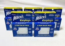 5 Packs Of Mack's Pillow Soft Silicone Earplugs ~ 6 Pair Pack~ 30 Pair  Total