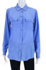 Equipment Femme Womens Silk Long Sleeve Collared Button Down Shirt Blue Size S