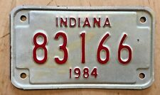 """1984 Indiana Motorcycle Cycle License Plate """" 83166 """" In 84"""