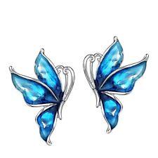 New Shiny Stylish Elegant Blue Butterfly Enamel Stud Pierced Earrings Jewellery