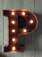 LED LIGHT CARNIVAL CIRCUS  RUST  METAL LETTER  P - WALL OR FREE STANDING 13INCH