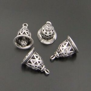 12pcs Antiqued Silver Brass Small Bells Charms Pendants No Voice When Shake