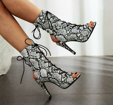 Womens Snakeskin Printed Open Toe Lace Up Ankle Boots Slingbacks Heels Stilettos