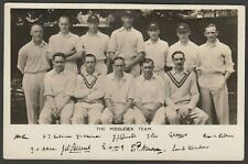Postcard Middlesex County Cricket Team and replica autographs RP published Lords