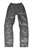 "Black Real Leather Biker Motorcycle Women's Pants Trousers Size W23"" L30"""