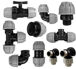 MDPE Compression Connector Fittings: 20mm, 25mm, 32mm, 40mm, 50mm LDPE PIPE