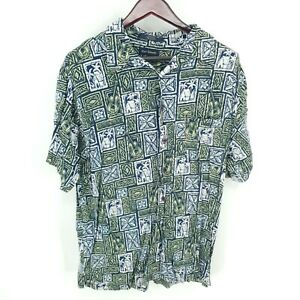 Marc Edwards Shirt Mens XL Button Up Hawaiian Beach Short Sleeve 100% Rayon