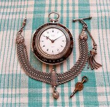 Antique, 1833, Edward Prior, ARGENT 3 Case Pocket Watch & turc type Albert Chain