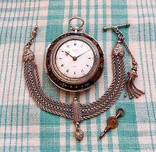 Reloj De Bolsillo Antiguo, 1833, Edward antes, Plata 3 caso & Cadena de tipo turco Albert