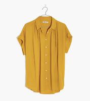 NWT Madewell Central Drapey Button Down Mustard Short Sleeve Shirt Size XXS