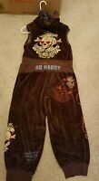 SOLD OUT Ed Hardy Women's two piece short sleeve sweatsuit sz L pre-owned