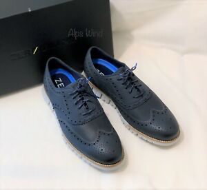 Brand New Cole Haan Mens Zerogrand Wingtip Oxfords Sneaker In Blue Size 9.5 Wide