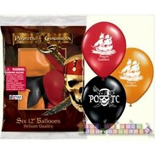 PIRATES OF THE CARIBBEAN LATEX BALLOONS (6) ~ Birthday Party Supplies Helium