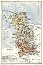 50 Manche carte atlas orig. 1891 Trousset - Avranches St-Lô Bréhal Mortain Ducey