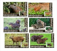 2020 CAPYBARA 6 SOUVENIR SHEETS UNPERFORATED  WILD ANIMALS