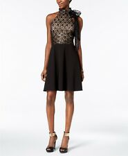 Betsey Johnson Sequined Lace & Scuba Crepe Bow Dress $148 Size 6 # 7А 468 NEW