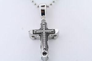 Black & Blue Jewelry Co. Stainless .09ctw Genuine Diamond Riveted Cross Pendant