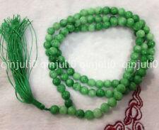 100%Natural 6mm Green Jade Tibet Buddhist beliefs 108 Prayer Beads Mala Necklace
