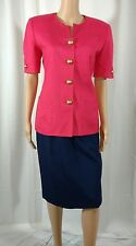 Woodward Collection Skirt Suit 8 Pink Navy Blue Career Short Sleeve Knee Length