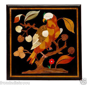 """20""""x20"""" Black Marble Coffee Side Table Top Carnelian Inlaid Arts Decorates H2399"""