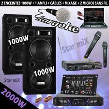 KARAOKE + 2 MICROS SANS FIL + MIXAGE + AMPLI SONO + 2 ENCEINTES + CÂBLES PA DJ