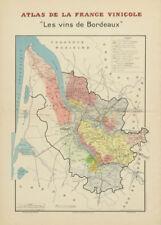 Bordeaux Vin carte. Les vins de Bordeaux. Carte générale. Larmat 1941 old