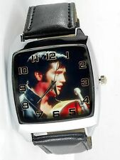 ELVIS PRESLEY WATCH Stainless Steel LEATHER MUSIC KING LEGEND SQUARE CD WATCH E3