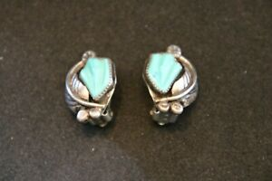 Vtg Native American Sterling Silver Carved Blue Turquoise ClipOn Earrings SIGNED
