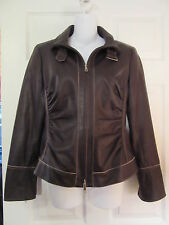 *NEW* LAFAYETTE 148 NEW YORK BROWN LAMBSKIN LEATHER RUCHED JACKET ZIP CUFFS~4