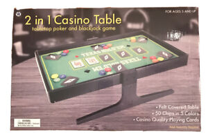 2 in 1 Casino Table - Table Top Poker and Blackjack Game NEW