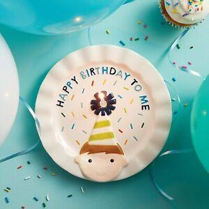 Mud Pie E1 Birthday Boy 8'' Dia Ceramic Candle Plate 12600155