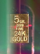 24 carat pure gold 5 grain .333 of 1 gram gold bars very small