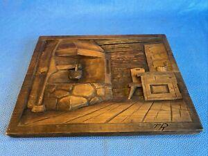 Vintage Wooden Hand Carved Rustic Kitchen Medevil Wood Slab - TR - Ruth Isackila